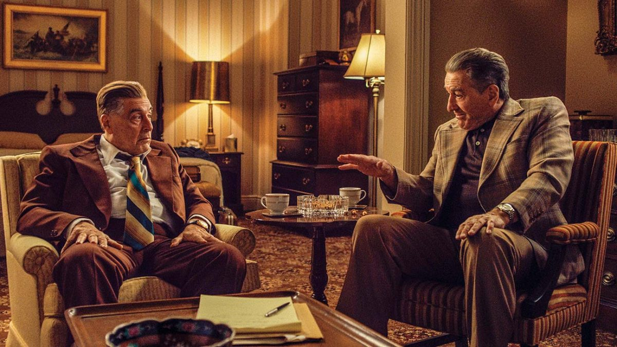 "The Irishman (Martin Scorsese, 2019), Netflix, USA, 35mm, colour, sound, 209 Minutes, Jimmy Hoffa (Al Pacino), Frank ""Irish"" Sheeran (Robert De Niro)"