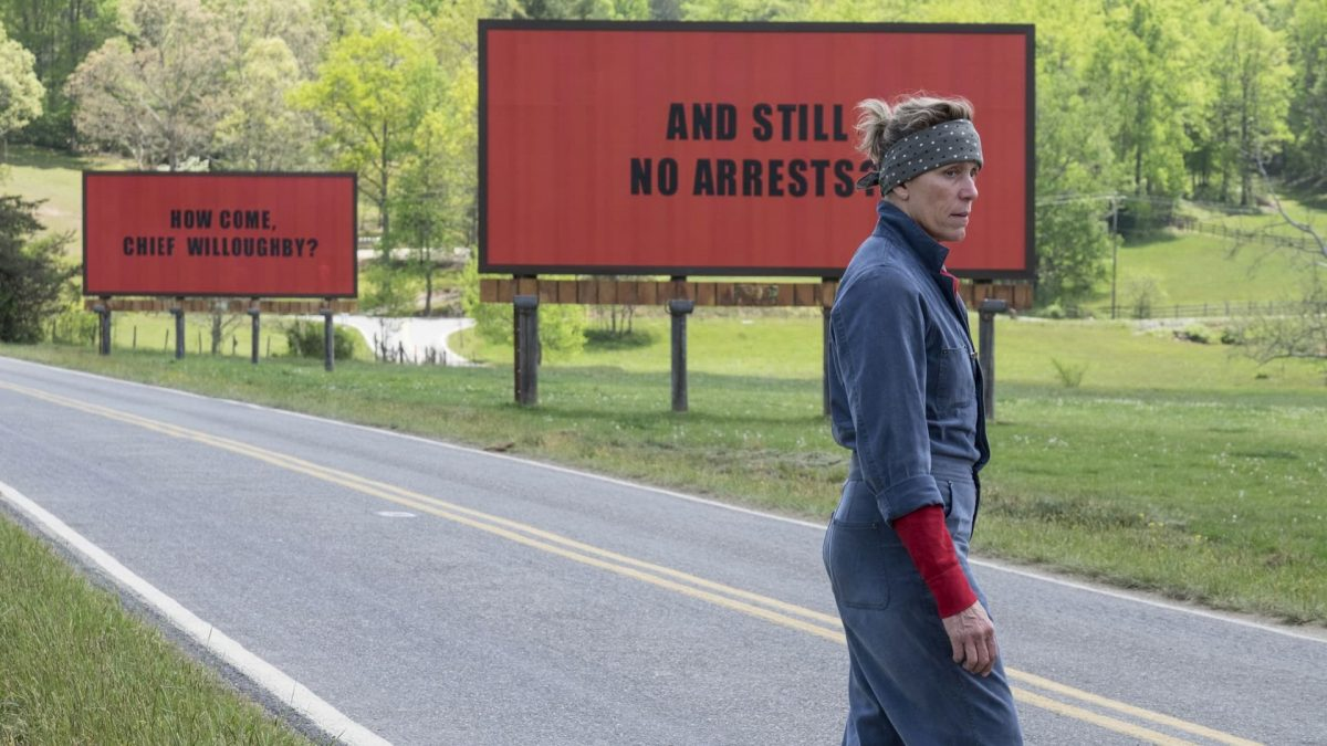 Three Billboards Outside Ebbing, Missouri (Martin McDonagh, 2017), 20th Century Fox, USA, D-Cinema, 115 minutes, Mildred (Frances McDormand)