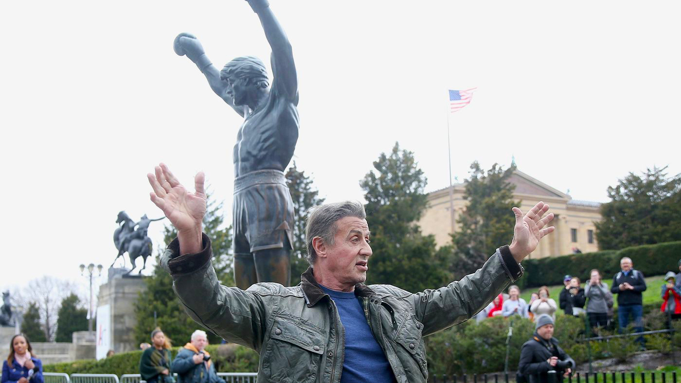 Sylvester Stallone visiting the Rocky Statue at the Philadelphia Museum of Art